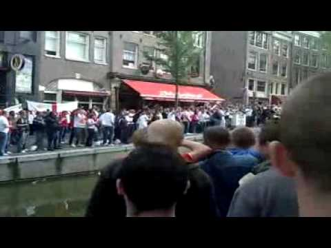 Derby County Flags with England Fans in Amsterdam !