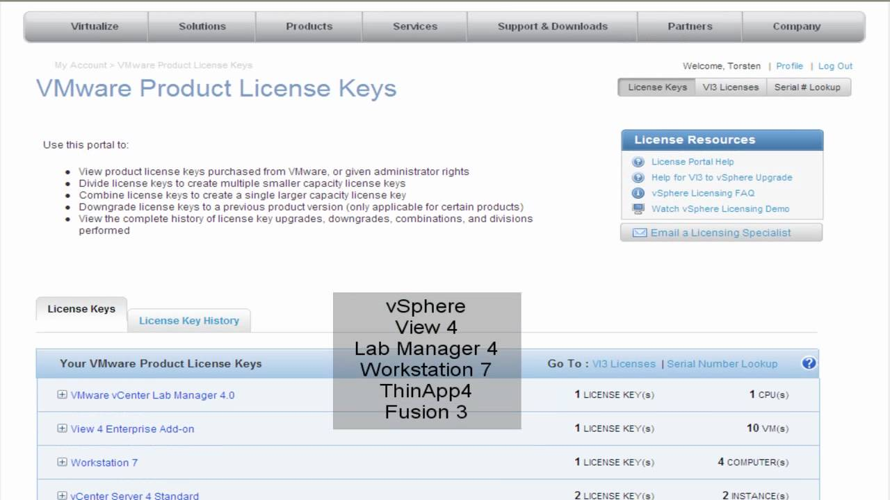 vmware license key registry