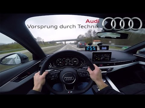 2017 Audi A4 (0-265 km/h) POV-Acceleration, Top speed TEST✔