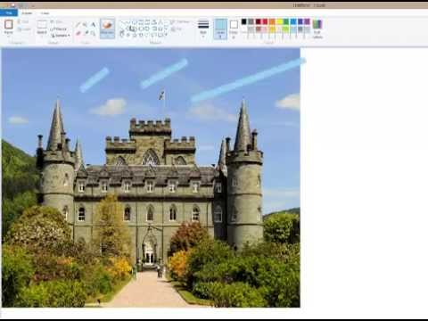 How to draw a realistic castle in Paint - YouTube