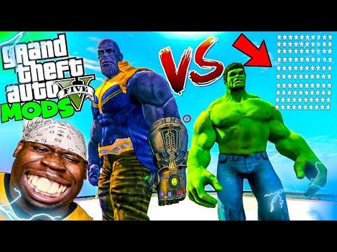 thanos-vs-the-incredible-hulk-100-wanted-stars-|-gta-5-thanos-pc-mod
