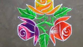 Rose flower kolam designs with 7x4 dots for pongal  /sankranti muggulu /easy rangoli designs