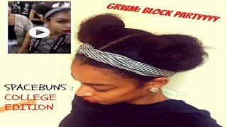 HOW TO: 2 BUNS (SPACE BUNS|Natural Hair) - HBCU BLOCKPARTY EDITION