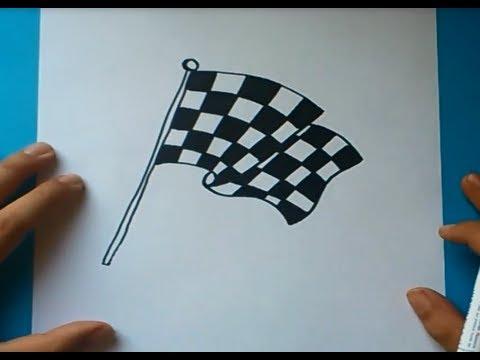 Como dibujar una bandera de cuadros paso a paso | How to