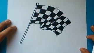 Como dibujar una bandera de cuadros paso a paso   How to draw a checkered flag