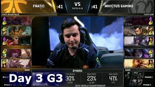 FNC vs IG | Day 3 Group Stage S8 LoL Worlds 2018 | Fnatic vs Invictus Gaming