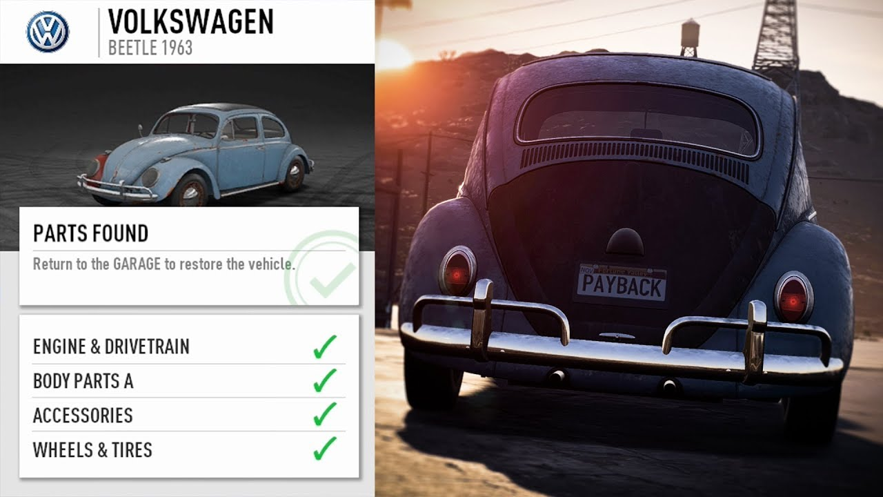 Need For Speed Payback Volkswagen Beetle 1963 Parts