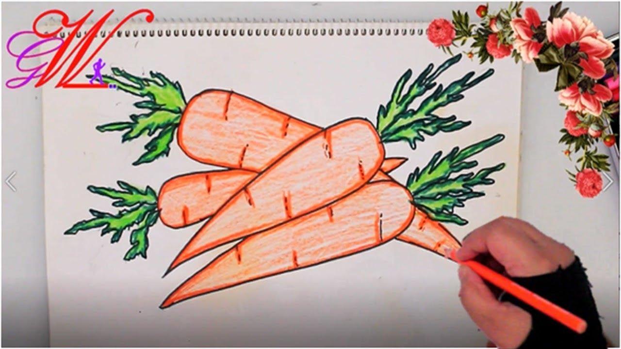 طريقة رسم وتلوين جزر How To Draw A Carrot Step By Step Very Easy