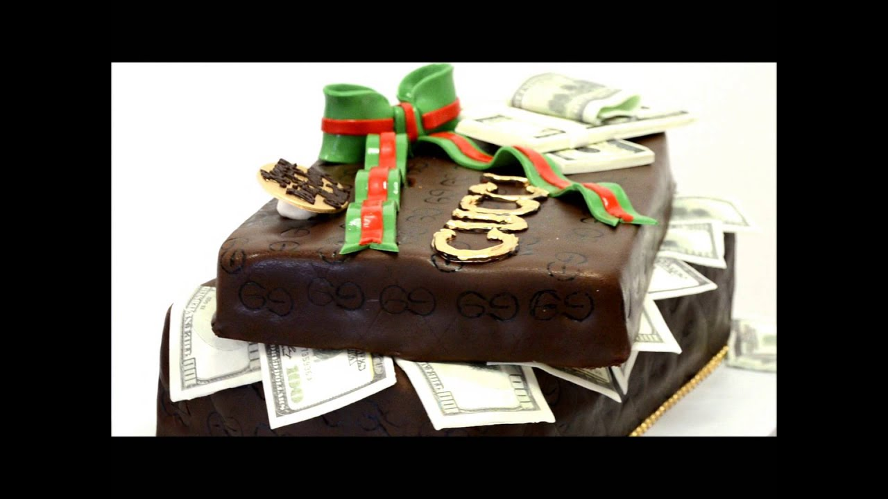 Gucci Box Cake with Sugar money on top 3D Gucci Cake YouTube