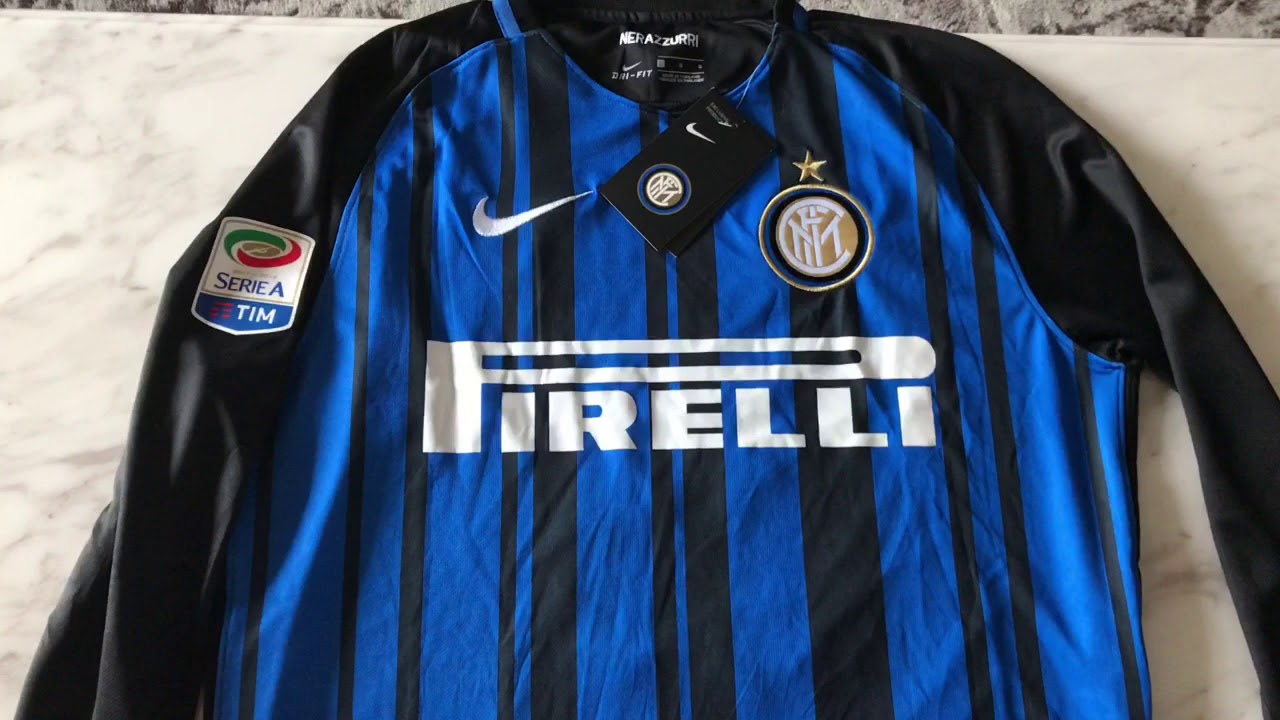pretty nice bd981 2d75a Top thai aaa 2017 2018 inter Milan home Long sleeve jerseys unboxing