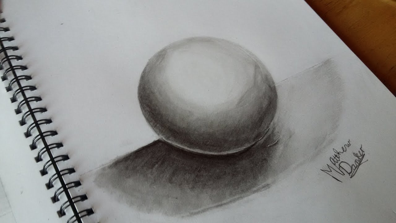 Line Drawing With Shading : How to draw a d sphere using pencil shading youtube
