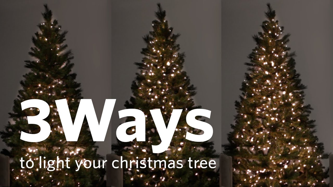 How To String Lights On A Large Christmas Tree : How to Hang Christmas Tree Lights 3 Different Ways! - YouTube