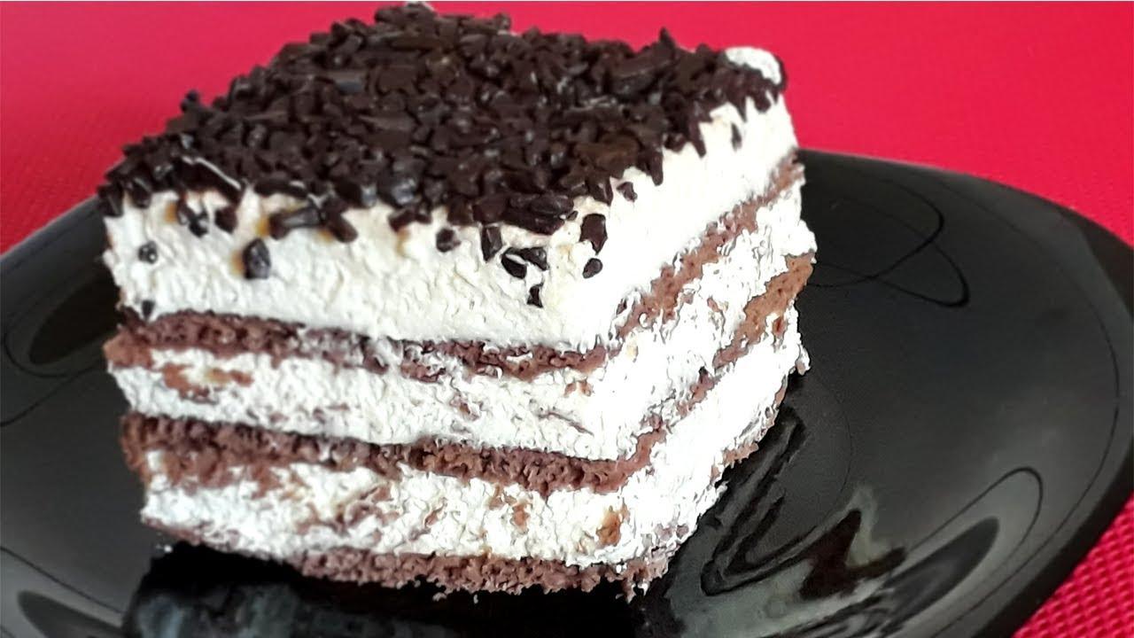 Prajitura fara coacere cu ciocolata si frisca