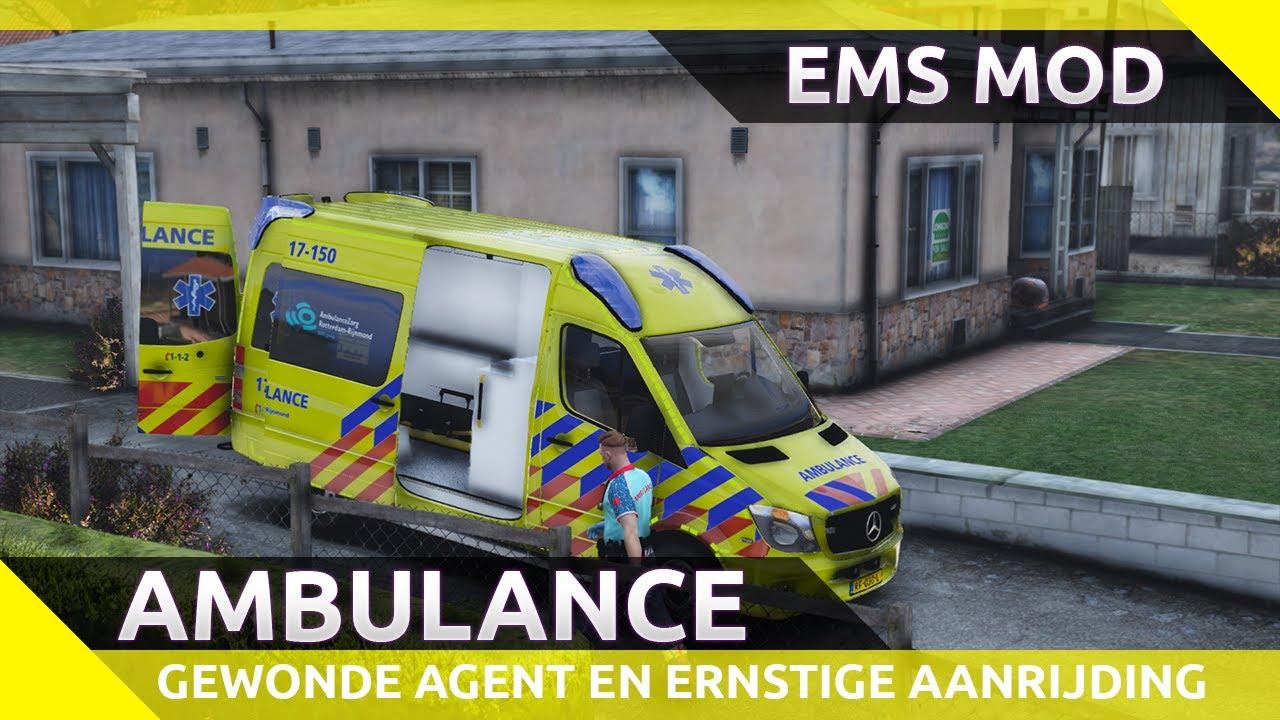 Gewonde agent, ernstige aanrijding, reanimatie en meer! - GTA V ambulance dienst