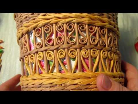 Плетение самовара из газетных трубочек. Урок 3.  Ажурные вставки. Квиллинг из газетных трубочек.