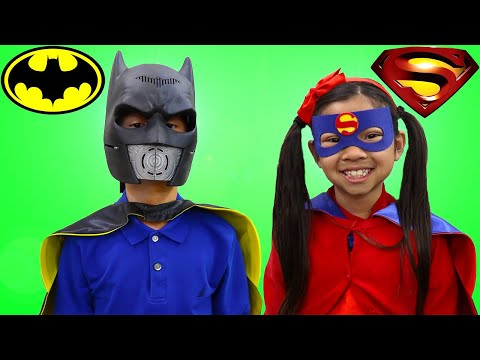 Emma and Andrew Pretend Play as Superheroes To The Rescue Fun Kids Toy Story