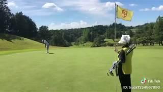 真夏のゴルフのパター、超ロングパットは大外れ