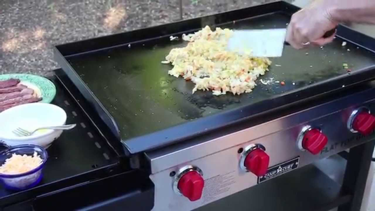hearty breakfast on the flat top grill - youtube