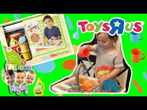 Kids Pretend Play With Toys R Us Just Like Home Kitchen Sink Set Toy Review   Toy Tuesday Ep. 2