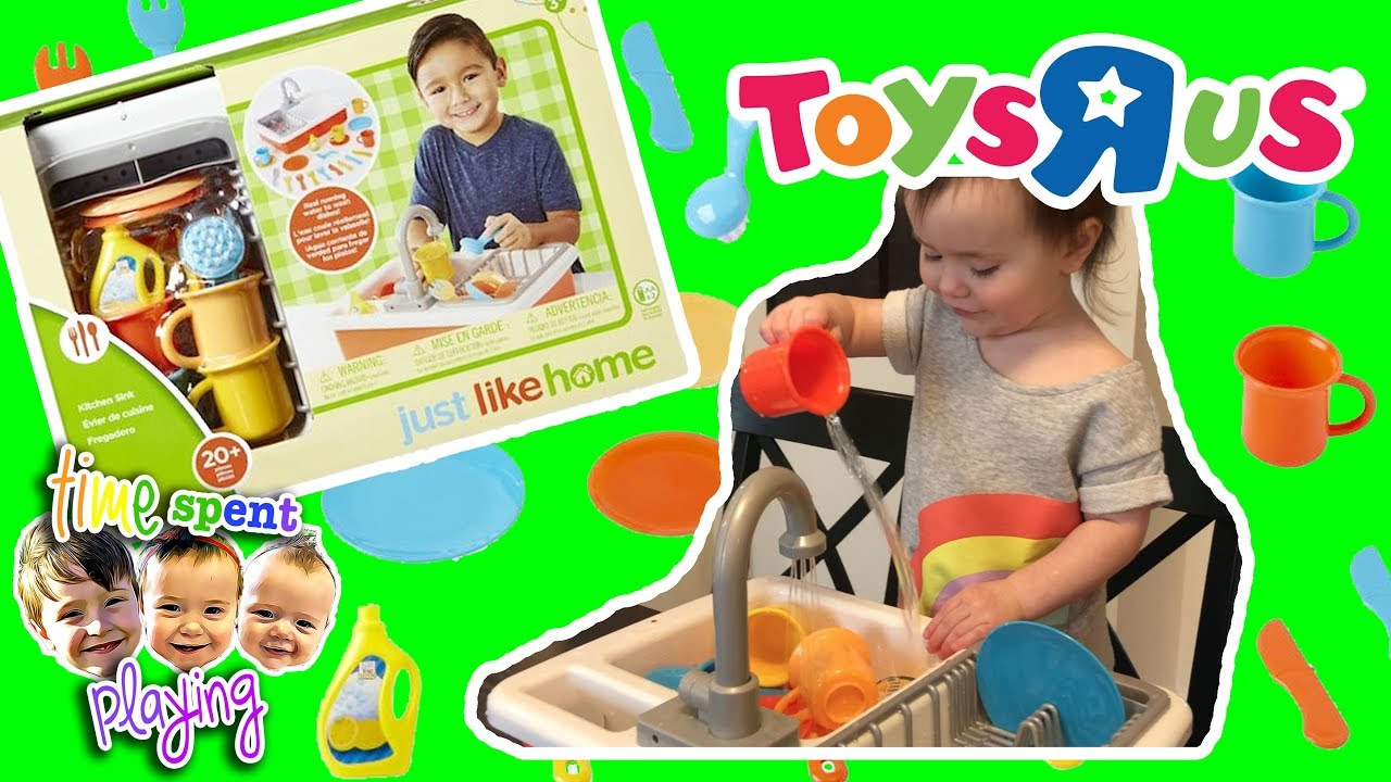 Kids Pretend Play With Toys R Us Just Like Home Kitchen Sink Set Toy Review Toy Tuesday Ep 2 Youtube