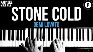 Demi Lovato - Stone Cold Karaoke SLOWER Acoustic Piano Instrumental Cover Lyrics MALE / HIGHER KEY Resimi