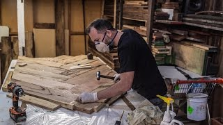 In this video I will go through the processes I used to make a solid herringbone dining table out of Marri wood. I will talk about my