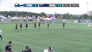 2018 World Jr. Ultimate Championships | Game 8 - Men: New Zealand vs Finland | Aug. 20