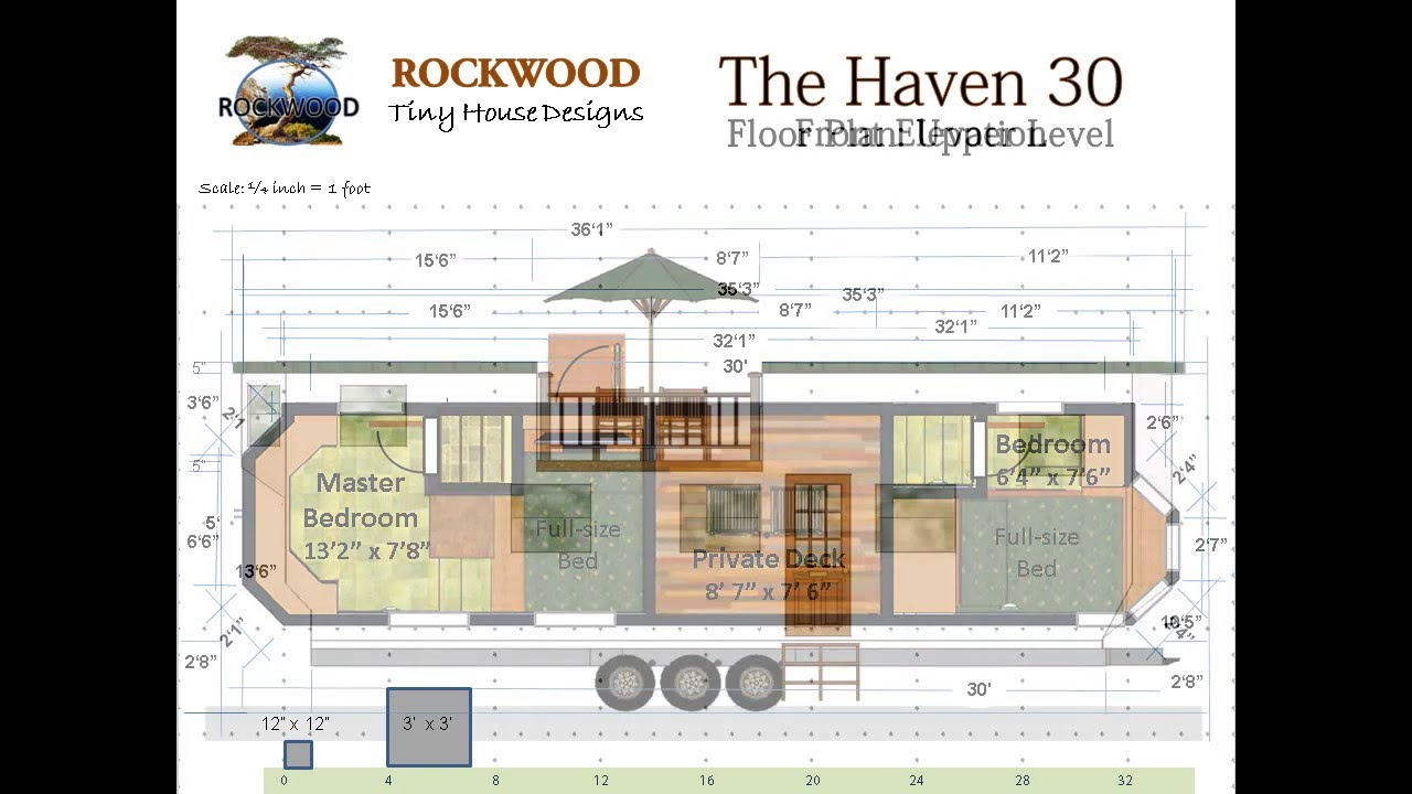 the haven 30 tiny house floor plan and elevations youtube. Black Bedroom Furniture Sets. Home Design Ideas