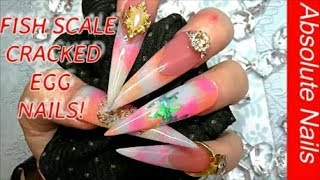 FISH SCALE CRACKED EGG EXTRA LONG EASTER STILETTO ACRYLIC NAILS | ABSOLUTE NAILS