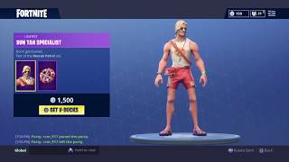 NEW SUN TAN SPECIALIST SKIN AND RESCUE PADDLE AXE TOOL IN Fortnite Battel Royale