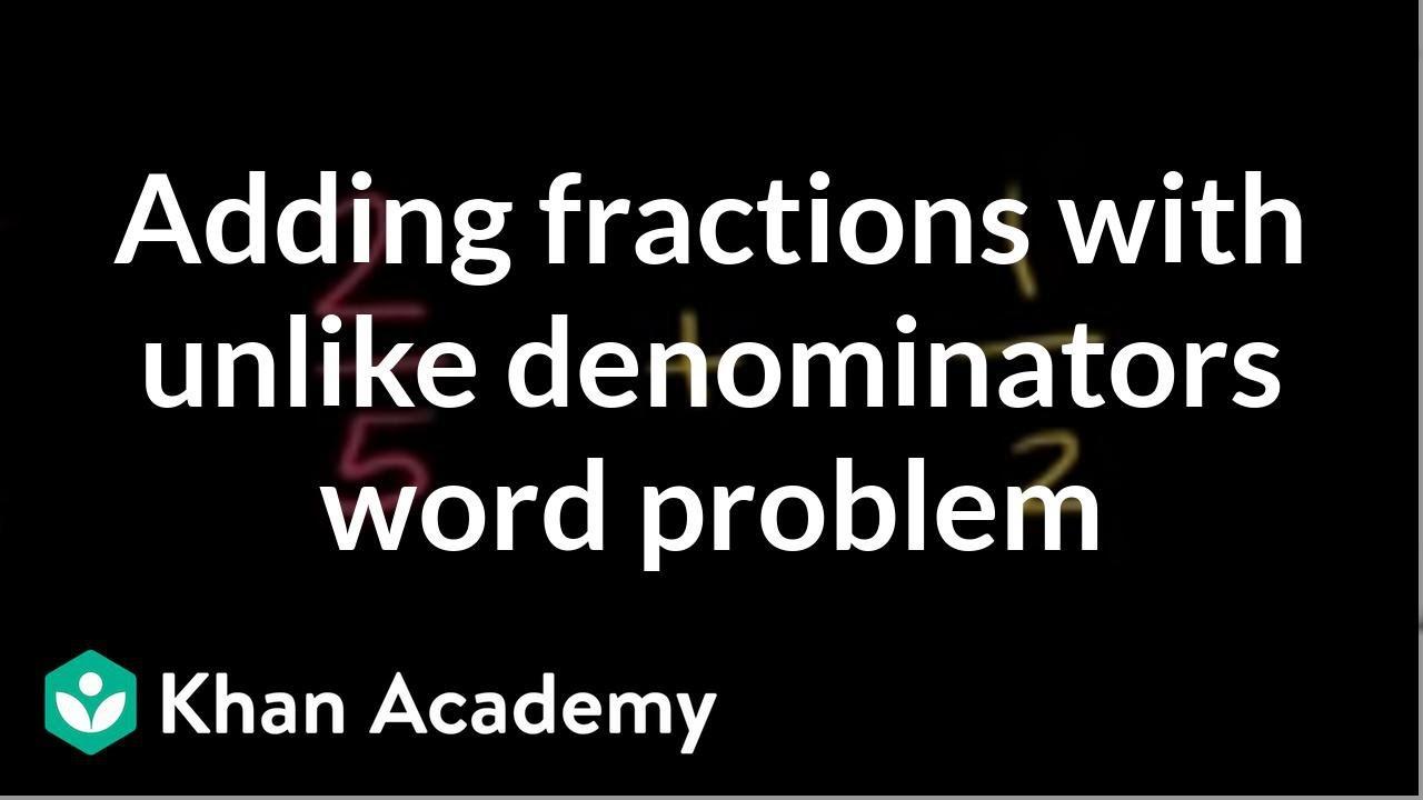 medium resolution of Adding fractions word problem: paint (video)   Khan Academy