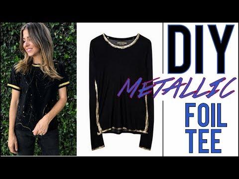 DIY: Designer T-Shirt Hack!! (METALLIC TEE)- by Orly Shani
