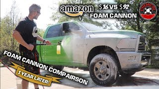 "Foam Cannon Comparison *AFTER 1 YEAR of USE* ($16 Amazon Cannon vs $90 ""Professional"" Cannon)"