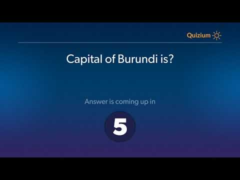 Capital of Burundi is?   Countries and Capitals Quiz