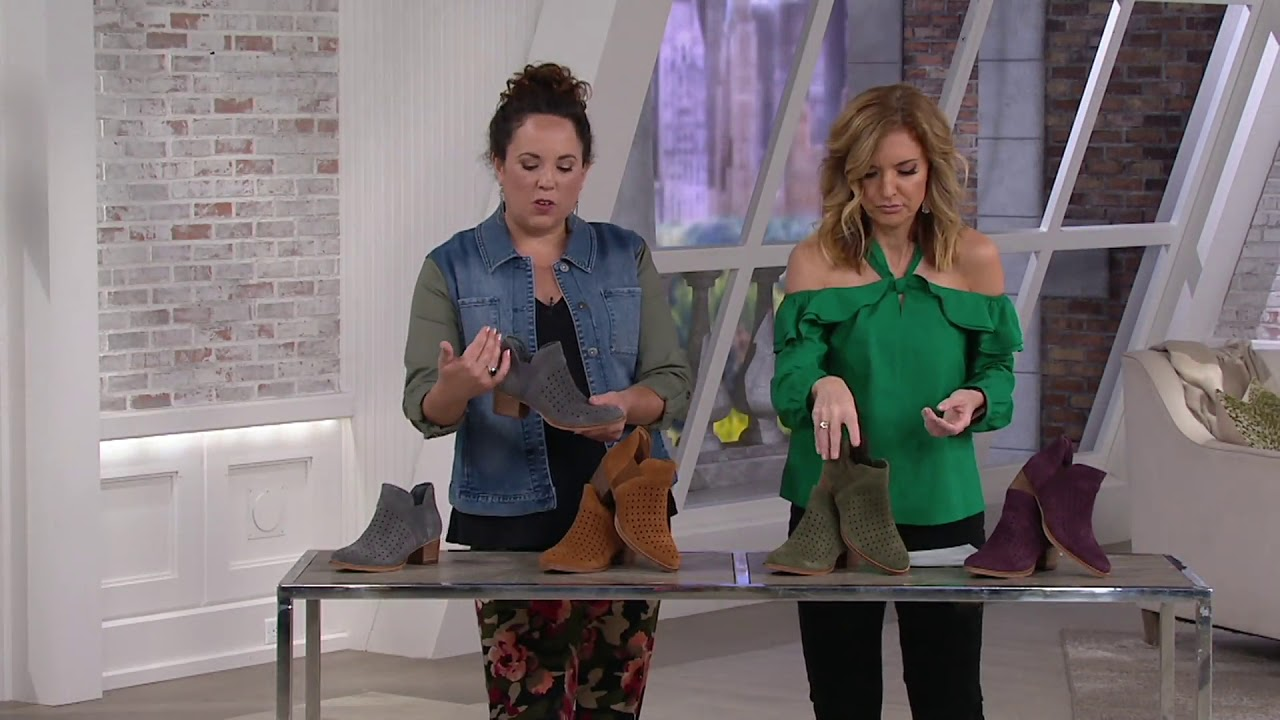 8d61d779342 Earth Perforated Suede Booties - Keren on QVC - YouTube