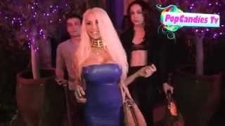 Courtney Stodden in tight blue latex mini-dress