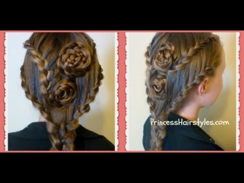 Lace Braid Rose Hairstyle For Long Hair, Hair4myprincess - YouTube