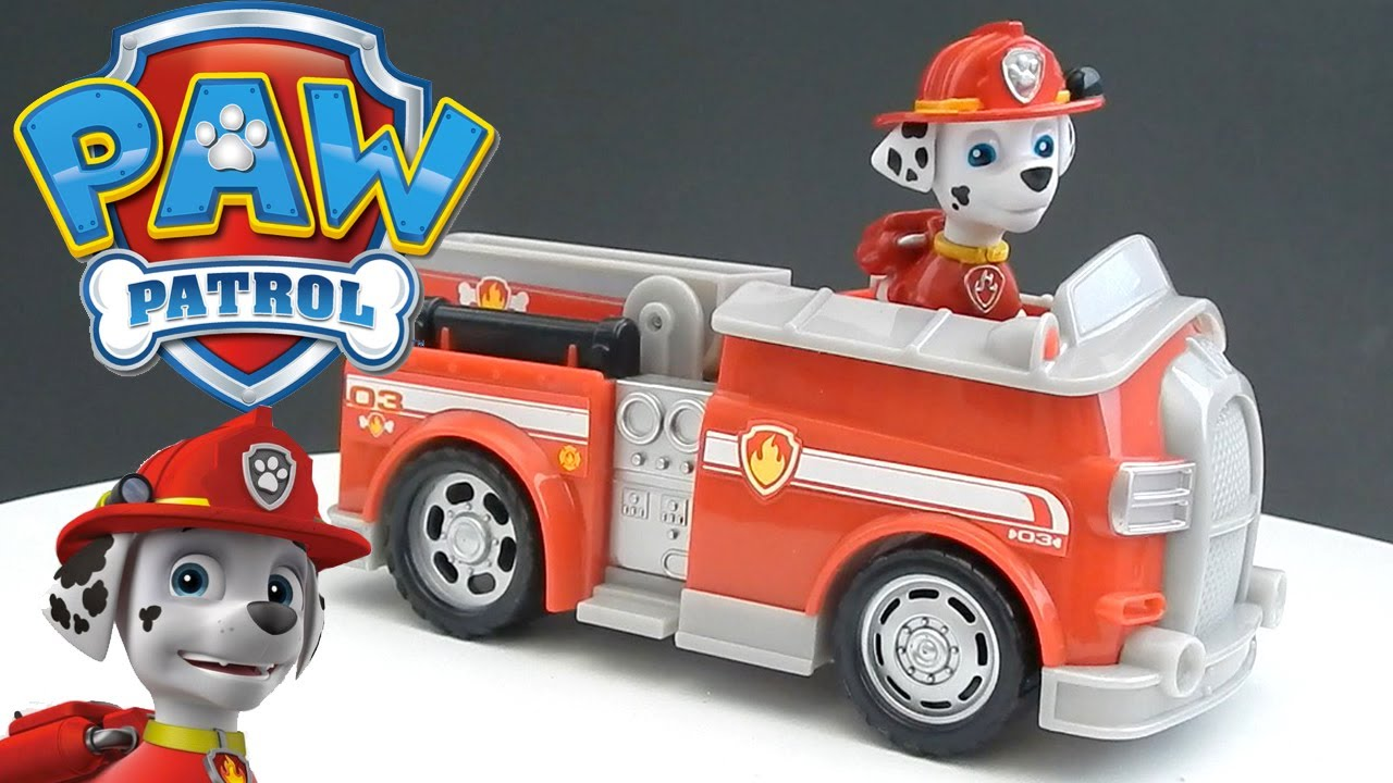 paw patrol toy marshall s fire fightin truck toy review from