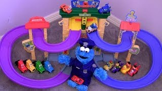 Cookie Monster Speedway Sesame Street Disney Cars Lightning McQueen, Mack truck, Snot Rod Flames