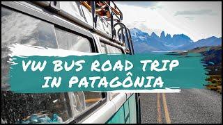 VW Bus Road trip In Patagonia - Drone 4k FOOTAGE