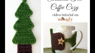 How To Crochet: Christmas Tree Coffee Cozy
