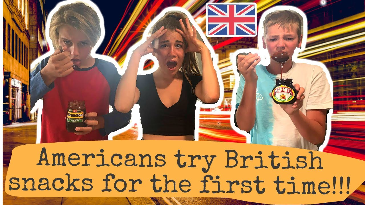 AMERICANS TRY BRITISH SNACKS FOR THE FIRST TIME!! (Jaffa Cakes, Sherbet Fountain, Monster Munch)