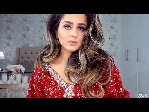 PAKISTANI WEDDING GRWM 2018 | PAKISTANI CLOTHES AT AN ARAB WEDDING? | MAKEUP + OUTFIT | HADIA