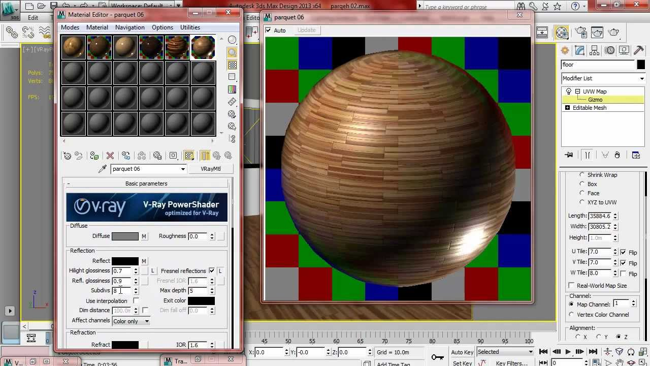 Texturing In 3ds Max Part 01 Parquet Youtube