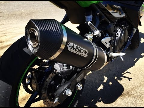 kawasaki ninja 400 original sound vs arrow exhaust sound db killer on off