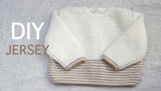 Repeat youtube video DIY Jersey bebe de 3 a 6 meses PARTE 1 (Tejer con dos agujas)