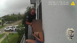 Florida Police Officers Rescue Children After Hallucinating Mother Holds Them On House Ledge!