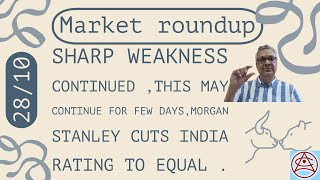 #StockMarket Bear's dominance iฑ the mkt, US China tension,China reality key concern