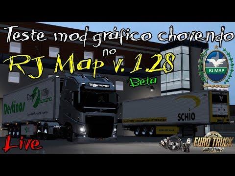 ETS2 LIVE - TESTANDO MOD GRÁFICO CHOVENDO DE NOITE NO RJ MAP 1.28 (BETA)