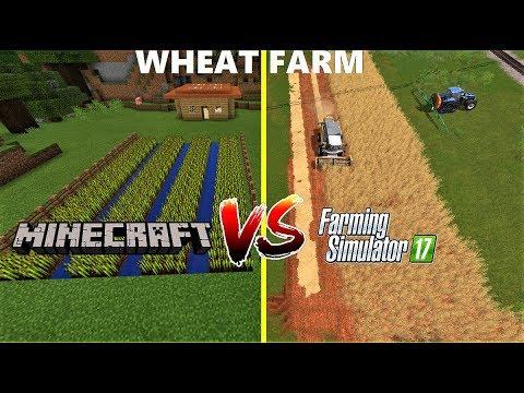 Farming Simulator 17 VS Minecraft : WHEAT FARMING & HARVESTING